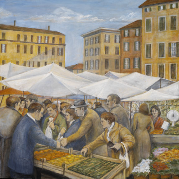 Market with Umbrellas, 36¨ x 36¨, oil on canvas