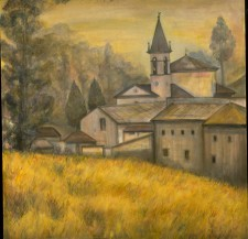 """Church San Gimignano, 24"""" x 24"""", oil on canvas"""