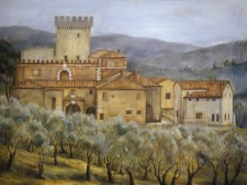 Tuscan Manor House with Olive Groves, 36¨ x 48¨, oil on canvas