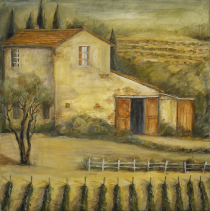 * Farmhouse with Olive Tree and Vinyard, 24¨ x 24¨, oil on canvas