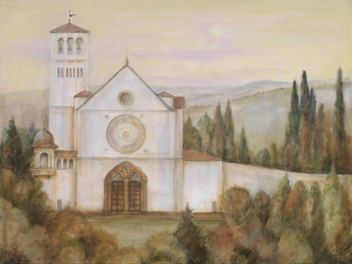 Basilica in Assisi, oil on canvas, 24¨ x 36¨