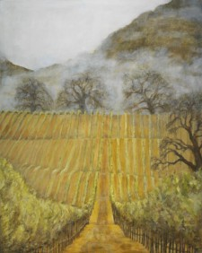 Vineyard with Morning Fog, 48¨ x 60¨, oil on canvas