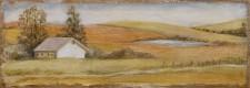 Farmhouse in Autumn*, 8¨ x 15¨, oil on wood,