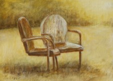 Lawn Chairs, 11¨ x 14¨, oil on wood