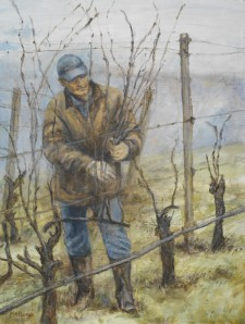 Winter Pruning, 18¨ x 24¨, oil on wood