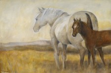 "Mare and Foal, 24"" x 30"", oil on canvas"