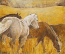 "Horses Grazing, 19"" x 22"", oil on wood"