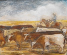 "Cattle Drive, 19"" x 22"", oil on wood"