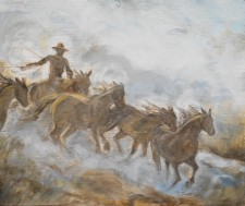 "Cowboy at Work, 19"" x 22"" oil on wood"