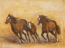 "Horses Running, 18"" x 24"", oil on wood"