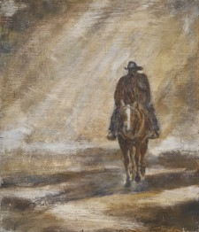 "Lone Cowboy, 14"" x 16"", oil on wood"