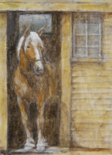"Horse in Barn Door*, 12"" x 16"", oil on wood"