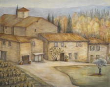 """Italian House and Winery, oil on canvas 48"""" x 60"""""""