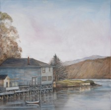 "West Marin Boat House, oil on canvas, 48"" x 48"""