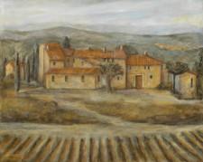 """Italian Vineyard and House, 24"""" x 30"""", oil on canvas"""