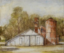 "Sonoma Barn With Silos, oil on wood, 18"" x 24"""