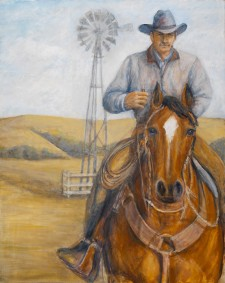 "Cowboy with windmill, 24"" x 36"" oil on canvas"