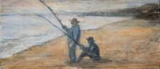 "Fishermen, oil on wood, 3"" x 8"""