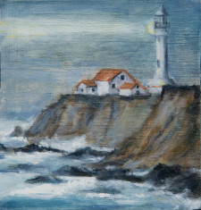 "Lighthouse, (red roof) oil on wood, 6"" x 6"""