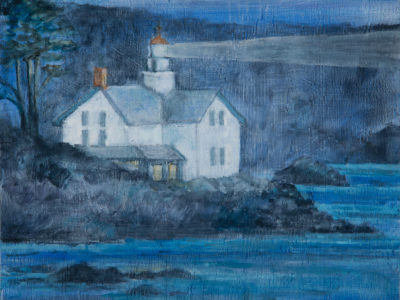 """Lighthouse, (blue roof), oil on wood, 11"""" x 14"""""""