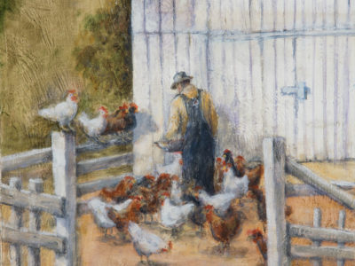 """Feeding the Chickens, oil on wood, 11"""" x 14"""""""