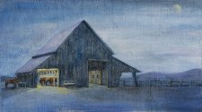 "Barn at Night, oil on wood, 14"" x 22"""