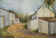 "Village Street w/palm, oil on wood, 22"" x 30"""