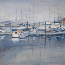 "Sausalito Harbor, oil on canvas, 48""x48"""