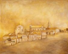 "Sepia Italian City, oil on canvas, 48""x60"""