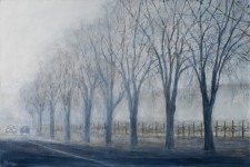 "Trees on foggy morning, 24"" x 30"" oil on canvas"