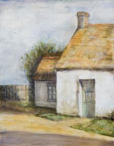 """Cottage, 11"""" x 14"""", oil on wood"""
