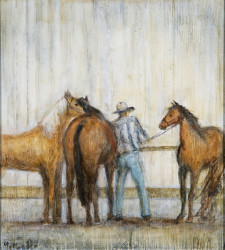 "Cowboy With Horses, 20"" x 26"", oil on wood"