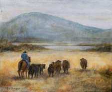 "Cowboy With Cattle, 12"" x 20"", oil on wood"