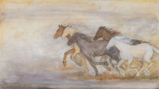 "Horses Running, 14"" x 22"", oil on wood"