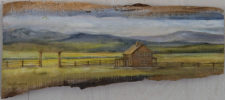 "House On The Prarie, oil on wood, 10""x22"""