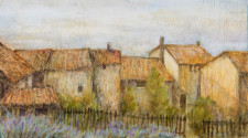 "Italian Landscape, 11"" x 23"", oil on wood"