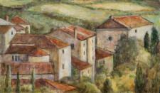 """Italian Town, 10"""" x 17"""", oil on wood"""