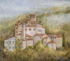 """Italian City On A Hill, 36"""" x 36"""", oil on wood"""