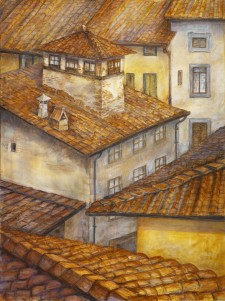"Italian Rooftops, 36""x48"", oil on canvas"