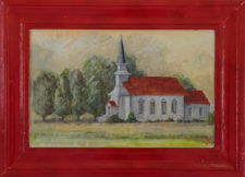 "Nicasio Church, oil on canvas, 19""x26"""