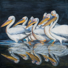 "Pelicans in Reflection, oil on canvas, 48"" x 48"""