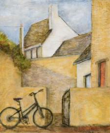 "Street with bike, 11"" x 14"" oil on wood"