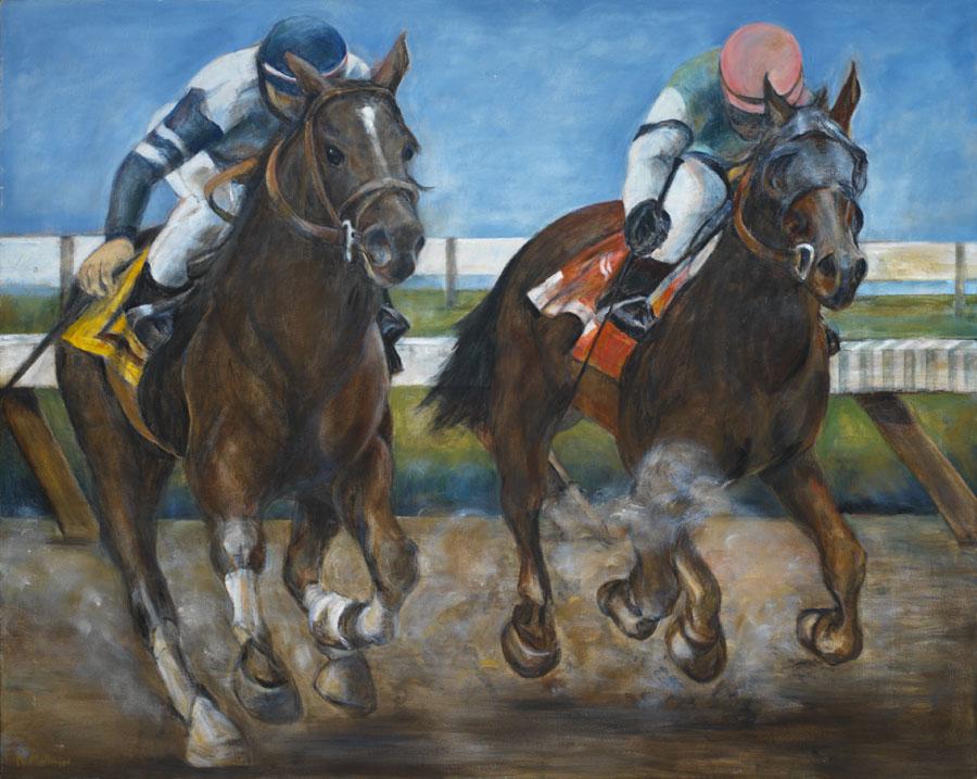 Horse Race*, oil on canvas, 48