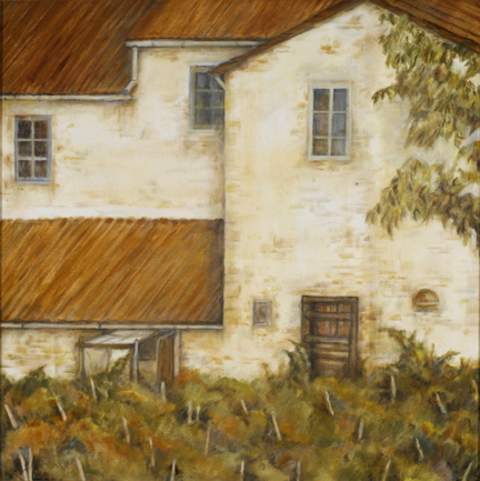 Farmhouse with Grape Vines, 24¨ x 24¨, oil on canvas