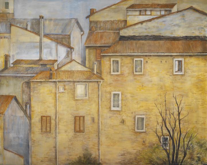 Italian Rooftops*, oil on canvas, 48