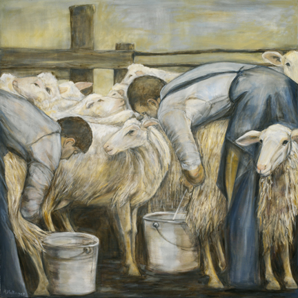 Sheep Milkers, 48¨ x 48¨, oil on canvas