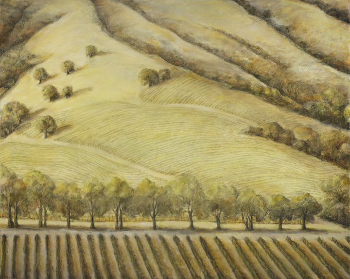 Green Vinyard in spring*, 48¨ x 60¨, oil on canvas