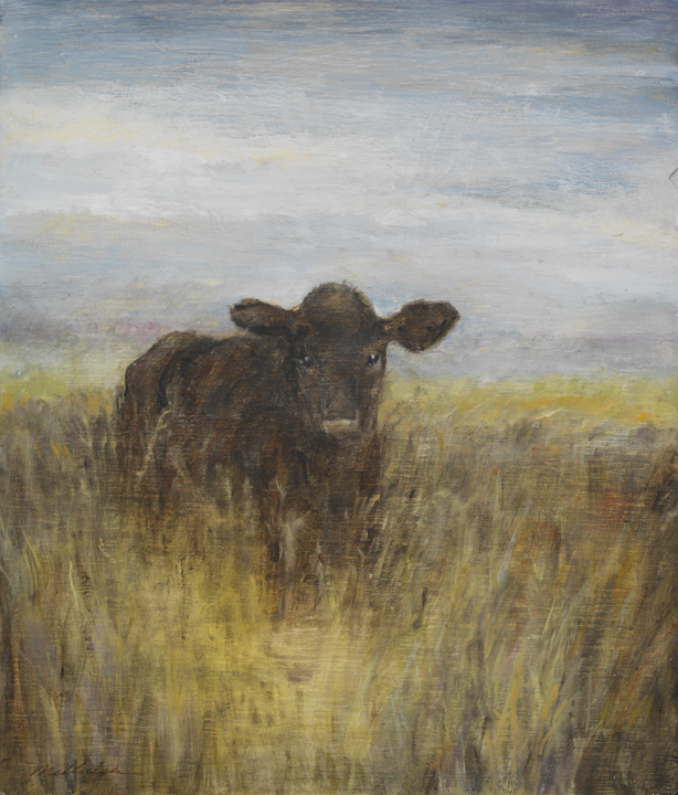 Cow in the grass, 12¨ x 14¨ , oil on wood