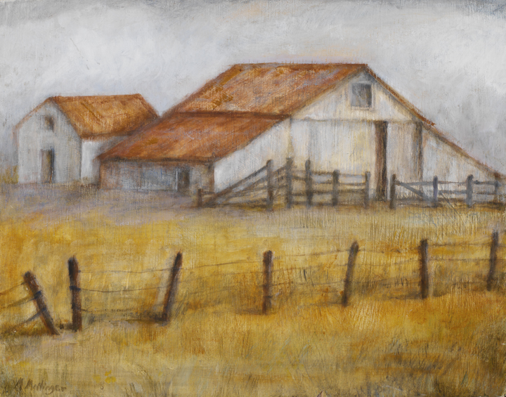 White Barn*, 14¨ x 18¨, oil on wood