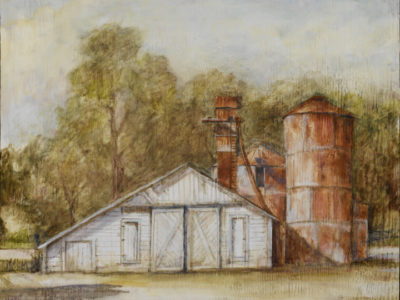 "Sonoma Barn With Silos, oil on wood, 18"" x 24"""